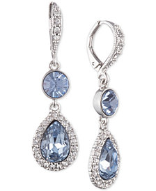 Givenchy Silver-Tone Crystal & Stone Double Drop Earrings