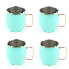 Turquoise 18-Ounce Hammered Moscow Mule Mugs, Set of 4
