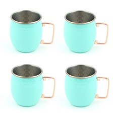 Fiesta Turquoise 18-Ounce Hammered Moscow Mule Mugs, Set of 4