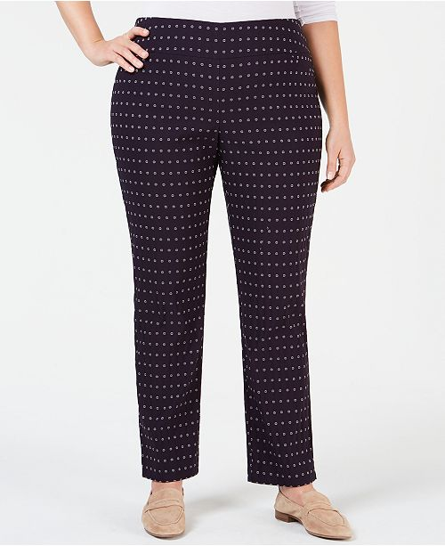 5839f2ef19e00 ... Charter Club Plus Size Printed Cambridge Ponte Pants