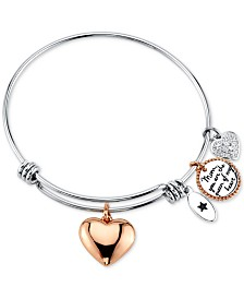 "Unwritten ""Mom, You're the Queen of My Heart"" Charm Bangle Bracelet in Stainless Steel & Rose Gold-Tone"