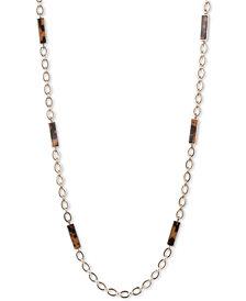 """Lauren Ralph Lauren Gold-Tone Link & Tortoiseshell-Look 42"""" Strand Necklace"""