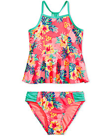 Breaking Waves Big Girls 2-Pc. Printed Peplum Tankini