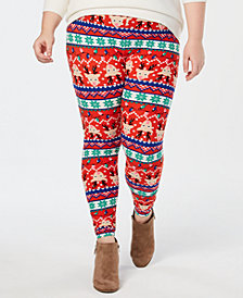 Planet Gold Trendy Plus Size Holiday-Print Leggings
