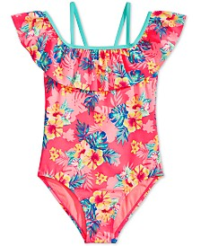 Breaking Waves Big Girls 1-Pc. Printed Flounce Swimsuit