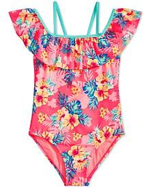Breaking Waves Big Girls 1-Pc. Printed Flounce Swimsuit