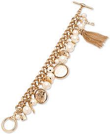 Lauren Ralph Lauren Gold-Tone Imitation Pearl & Chain Tassel Charm Bracelet