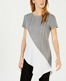 Bar III Asymmetrical Colorblocked Top, Created for Macy's