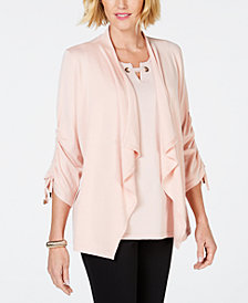 JM Collection Draped-Front Ruched-Sleeve Cardigan, Created for Macy's