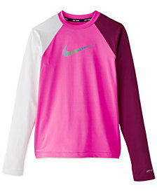 Nike Big Girls Flash Colorblocked Hydroguard Rash Guard