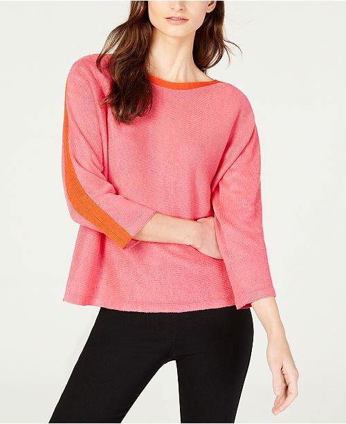 b577e71823 Eileen Fisher Organic Linen Boat-Neck Top   Reviews - Sweaters ...