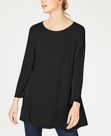 Eileen Fisher Scoop-Neck Wide-Sleeve Stretch Jersey Tunic, Regular & Petite