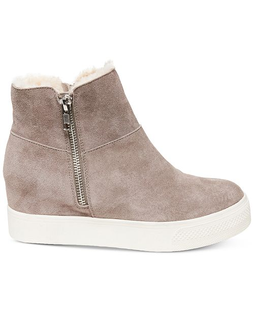 Steve Madden Wanda Faux Fur Wedge Sneakers Sneakers Shoes Macys