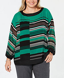 Alfani Plus Size Striped Kimono-Sleeve Top, Created for Macy's