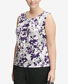 Calvin Klein Plus Size Pleat-Neck Blouse