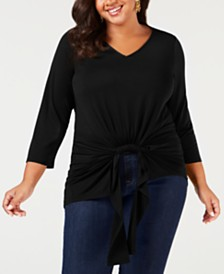 8298aa6cc85 NY Collection Plus Size Gathered-Front Top