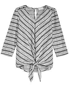 Monteau Big Girls Striped Tie-Front Hacci Top