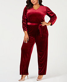 NY Collection Plus Size Belted Velvet Jumpsuit