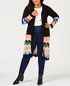 NY Collection Plus Size Chevron-Striped Duster Cardigan