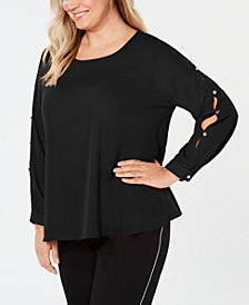 NY Collection Plus Size Embellished Cutout-Sleeve Top