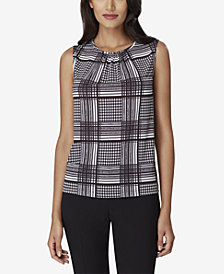 Tahari ASL Houndstooth-Print Plaid Shirred Shell