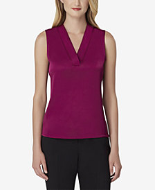 Tahari ASL Charmeuse V-Neck Blouse