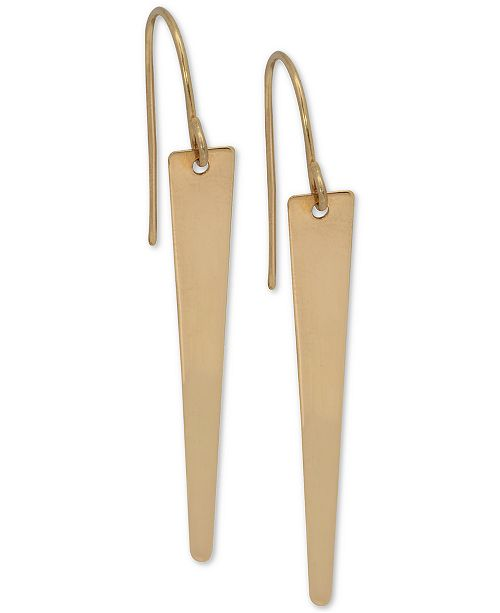 Macy's Polished Deco Drop Earrings in 10k Gold