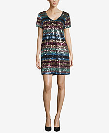 ECI Striped Sequin Embellished V-Neck Dress