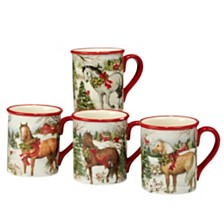 Certified International Christmas on the Farm 4-Pc. Mug asst.
