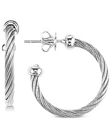 CHARRIOL Cable Hoop Earrings in Stainless Steel