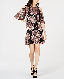 Jessica Howard Petite Floral-Print Cold-Shoulder Dress