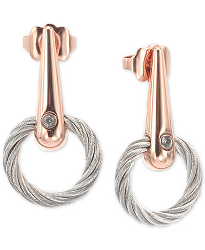 CHARRIOL White Topaz Accent Circle Drop Earrings in PVD Stainless Steel & Rose Gold-Tone