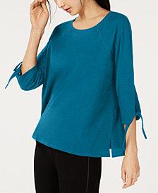 Eileen Fisher Organic Cotton Tie-Sleeve Top
