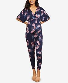 Jessica Simpson Maternity Floral-Print Jumpsuit