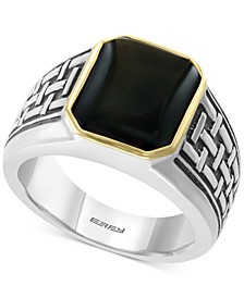 EFFY® Men's Onyx (13 x 11mm) Ring in Sterling Silver & 14k Gold