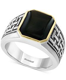 EFFY® Men's Onyx (13 x 11mm) Ring in Sterling Silver & 14k Gold