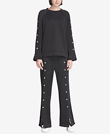 DKNY Sport Snap Wide-Leg Pants, Created for Macy's
