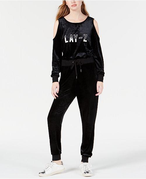 10707975515b5 ... Material Girl Active Juniors  Lay-Z Cold-Shoulder Graphic Velvet  Jumpsuit
