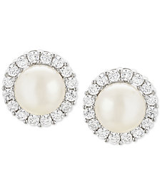 Cultured Freshwater Pearl (7mm) & Cubic Zirconia Stud Earrings in Sterling Silver