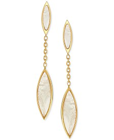 Mother-of-Pearl Marquis Drop Earrings in 14k Gold