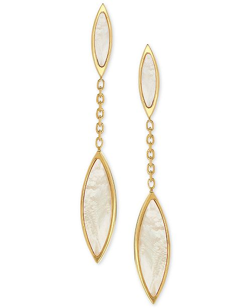 Macy's Mother-of-Pearl Marquis Drop Earrings in 14k Gold