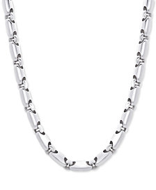 "Men's Polished Rounded Link 24"" Chain Necklace in Sterling Silver"