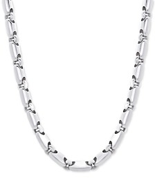 """Men's Polished Rounded Link 24"""" Chain Necklace in Sterling Silver"""