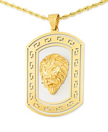 "Lion's Head Two-Tone 24"" Pendant Necklace in Stainless Steel & Yellow Ion-Plate"