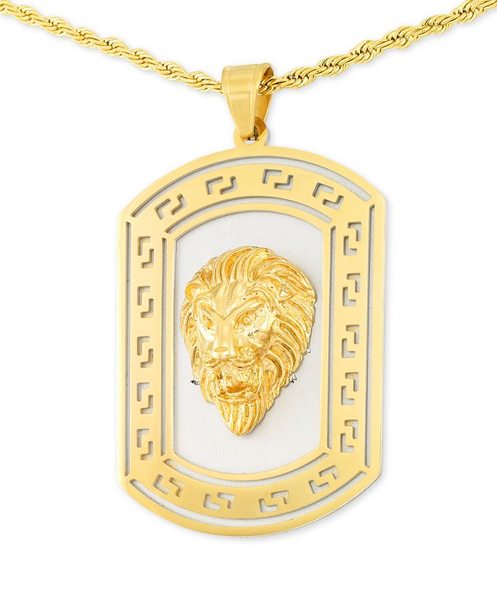"""LEGACY for MEN by Simone I. Smith - Lion's Head Two-Tone 24"""" Pendant Necklace in Stainless Steel & Yellow Ion-Plate"""