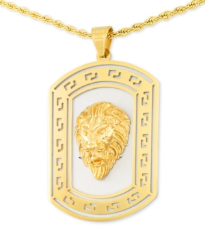 """Smith Lion's Head Two-Tone 24"""" Pendant Necklace in Stainless Steel & Yellow Ion-Plate"""