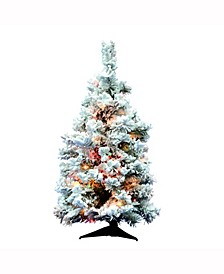 36 inch Flocked Alaskan Pine Artificial Christmas Tree With 100 Multi-Colored Lights