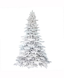 6.5 ft Flocked White Spruce Artificial Christmas Tree Unlit
