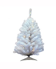3 ft Crystal White Spruce Artificial Christmas Tree With 50 Warm White Led Lights
