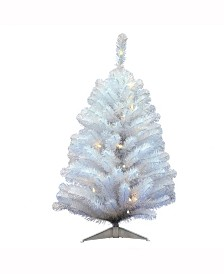 Vickerman 3 ft Crystal White Spruce Artificial Christmas Tree With 50 Warm White Led Lights
